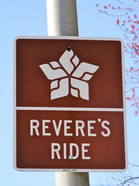 Occasional road signs mark Paul Revere's route from Charlestown to Lexington.