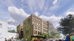 A rendering of a proposed development for senior housing in Jamaica Plain.
