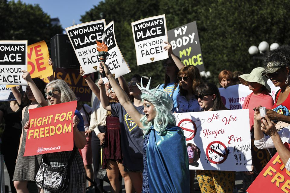 Demonstrators at a rally in support of abortion rights in New York in July.
