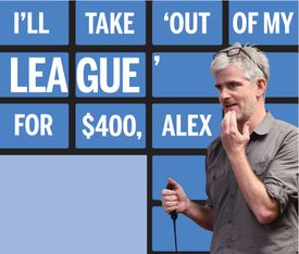 """Mark Shanahan, poised with his buzzer at the audition for  """"Jeopardy!"""""""