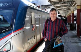 Passenger Kurt Hellauer of Andover arrived atSouth Station on Friday, about five hours late.