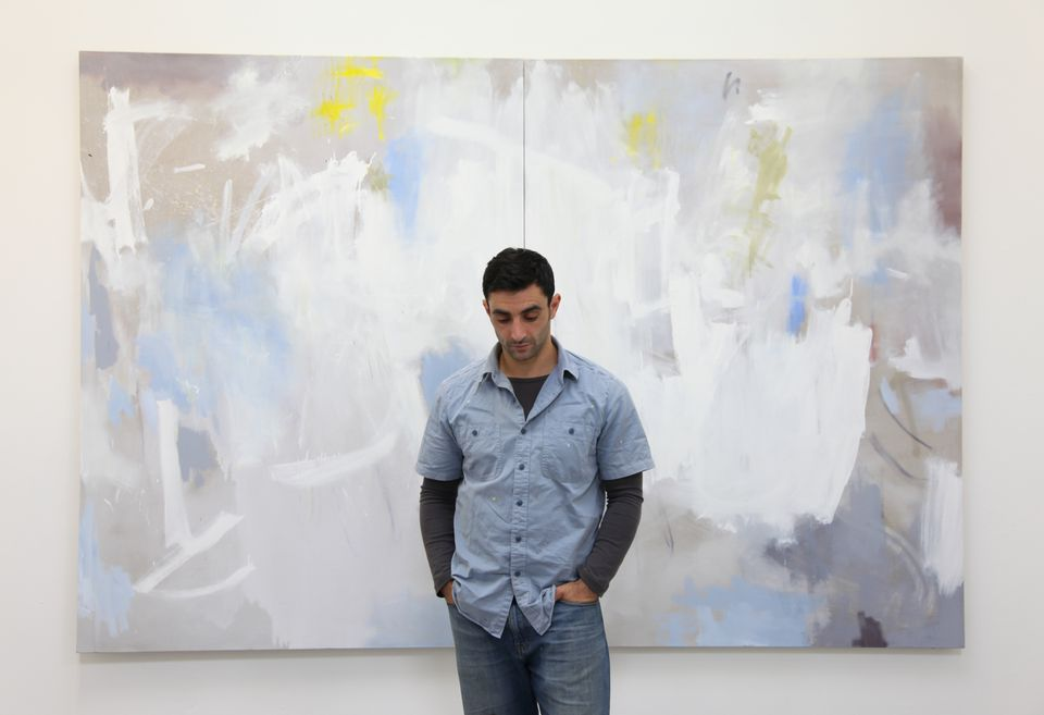 """Richard Hearns with his painting """"Ovid."""""""
