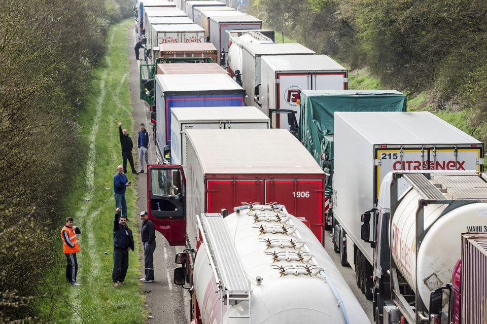 Truck drivers on a highway between Brussels and Luxembourg
