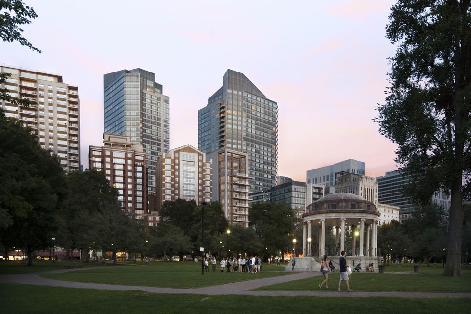 """The developers of a """"pencil"""" tower proposed near Boston Common have trimmed the height of their building to 155 feet, over concerns about shadows casting on the public park."""