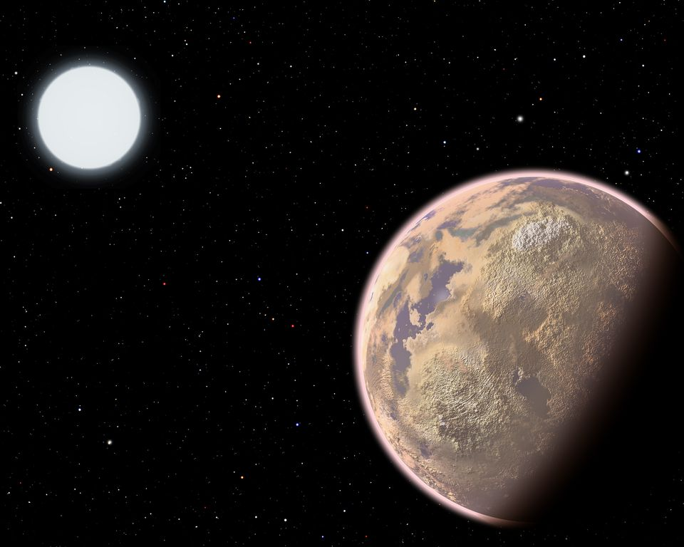 In this artist's conception, the atmosphere of an Earth-like planet displays a brownish haze - the result of widespread pollution.