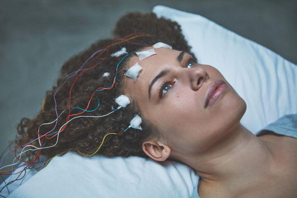 The author undergoing an EEG.