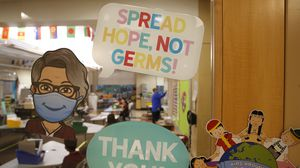A kindergarten teacher used her Bitmoji to spread awareness about COVID-19 on the door of her classroom at Mary L. Fonseca Elementary School in Fall River in November 2020.