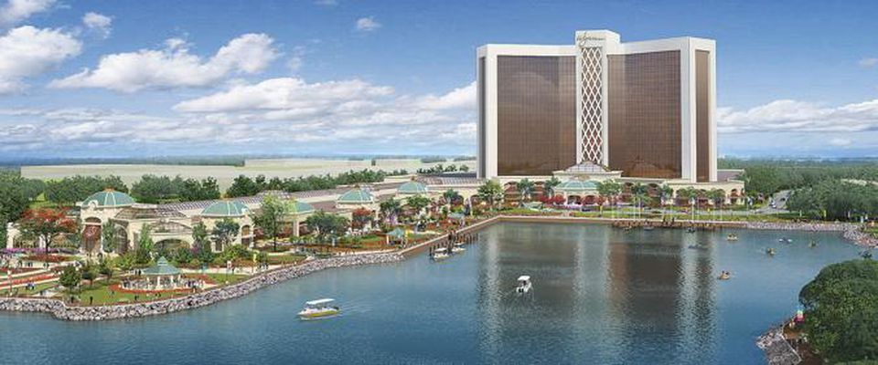 An artist's rendering shows a proposed casino by Wynn Resorts on the banks of the Mystic River in Everett.