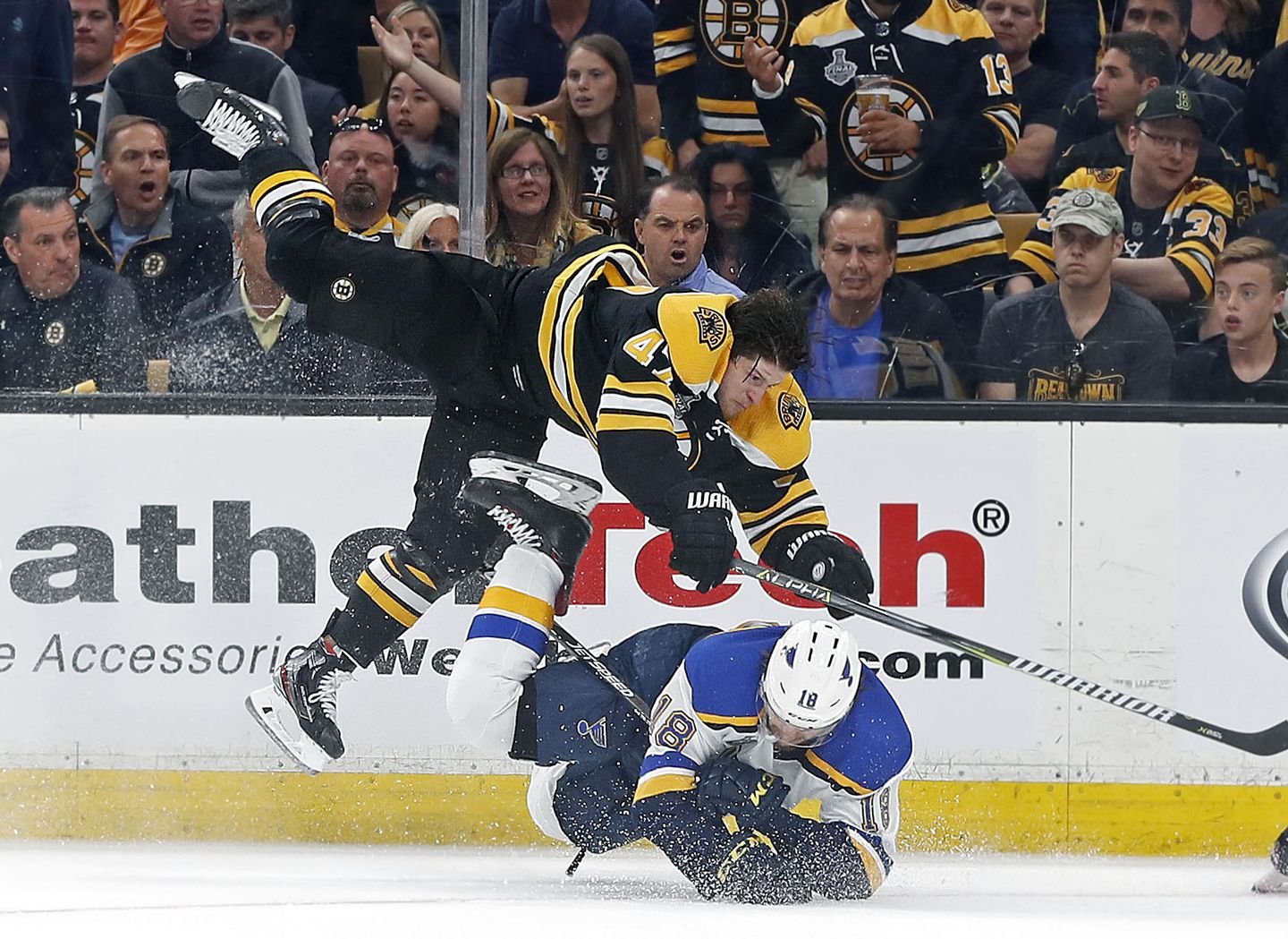 Don T Make That Guy Mad Torey Krug S Hit Exemplified The Bruins Night The Boston Globe