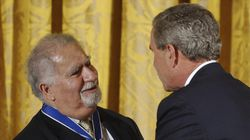In this June 23, 2004, file photo, President Bush presents Vartan Gregorian with the Presidential Medal of Freedom, the nation's highest civil award, during a ceremony in the East Room of the White House in Washington. Gregorian, the noted scholar and philanthropic leader who has led the Carnegie Corporation of New York since 1997, died Thursday, April 15, 2021, after being hospitalized for stomach pain. He was 87.