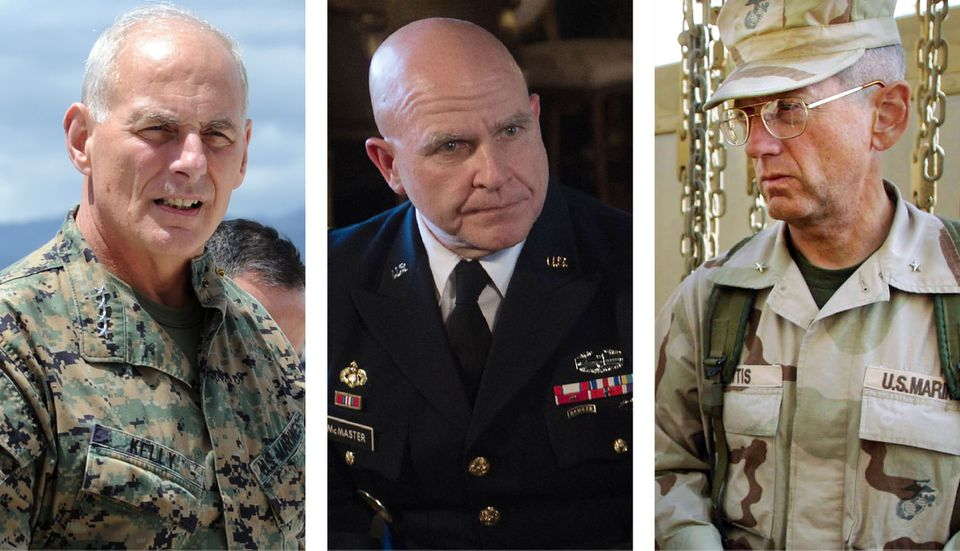Retired General John Kelly (left), now President Trump's chief of staff, National Security Advisor H.R. McMaster (center) and Secretary of Defense James Mattis.