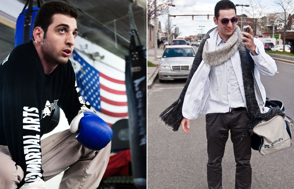 In two photos from 2009, Tamerlan Tsarnaev is shown inside the Wai Kru Mixed Martial Arts center in Boston (left) and arriving at the center (right). The suspected Marathon bomber died after a shoot-out with police Thursday night, while his brother remains at large.