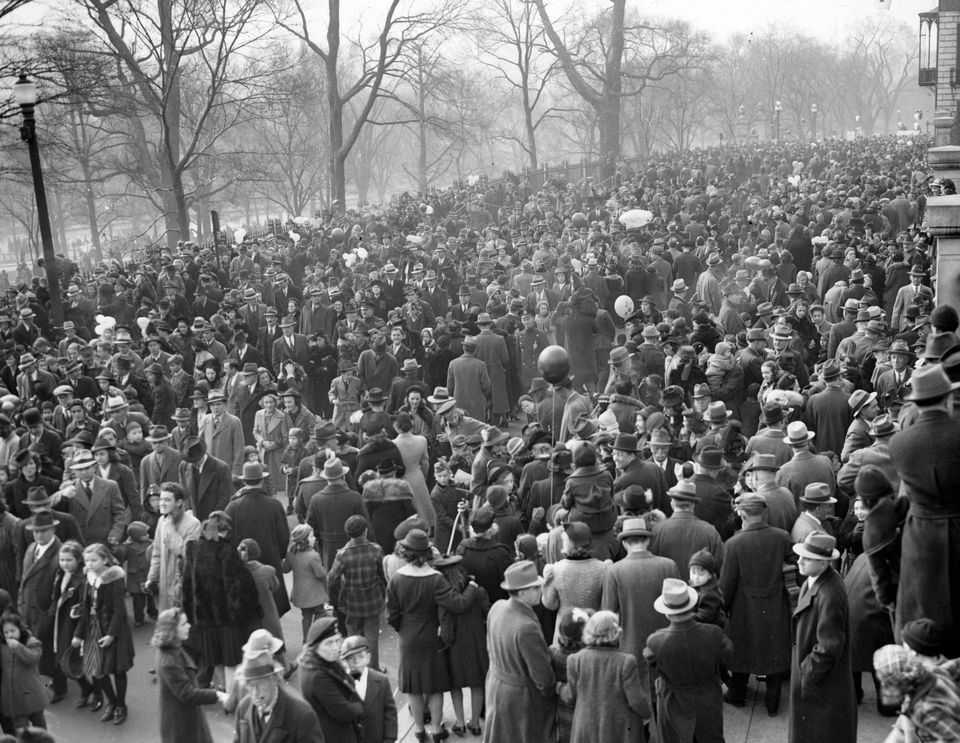 The crowd on Beacon Street in Boston after the Thanksgiving Santason Parade ended, Nov. 30, 1939.
