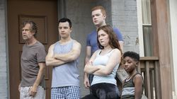 """From left: William H. Macy as Frank Gallagher, Noel Fisher as Mickey Milkovich, Cameron Monaghan as Ian Gallagher, Emma Kenney as Debbie Gallagher, and Christian Isaiah as Liam Gallagher in """"Shameless."""""""