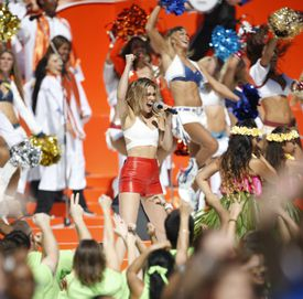 """Singer Rachel Platten, pictured performing before the NFL Pro Bowl last Sunday. Her """"Fight Song"""" was Hillary Clinton's victory song at the Iowa caucuses."""