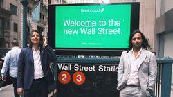 Vlad Tenev (left) and Baiju Bhatt, founders of the online brokerage Robinhood, on Wall Street after last week's IPO.