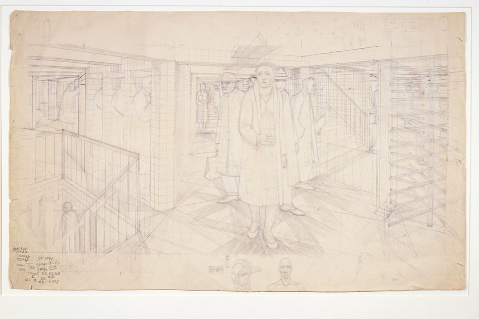 """George Tooker's """"Study for Subway"""" in the Addison show."""