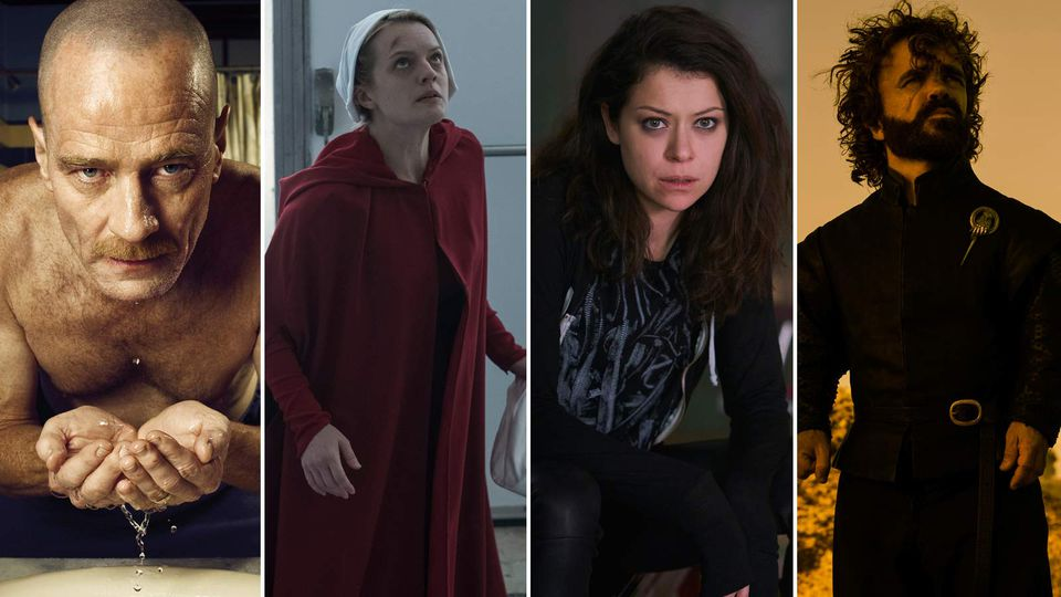 """Bryan Cranston in """"Breaking Bad,"""" Elisabeth Moss in """"The Handmaid's Tale,"""" Tatiana Maslany in """"Orphan Black,"""" and Peter Dinklage in HBO's """"Game of Thrones."""" (Left to right: Ben Leuner/AMC/Reuters; George Kraychyk/Hulu; Ken Woroner/BBC America; Macall B. Polay/HBO)"""