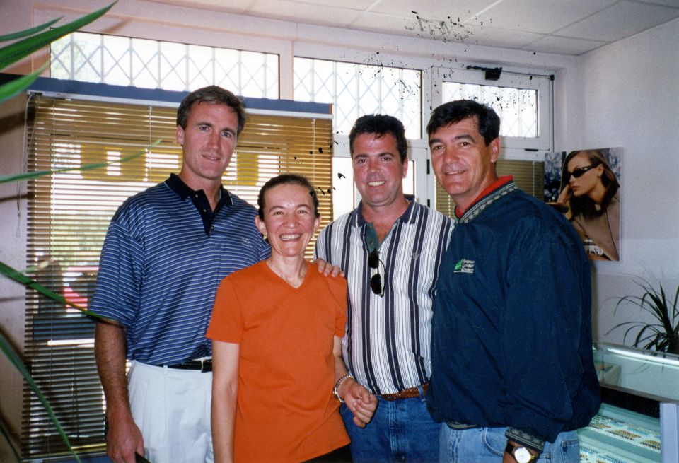 From left: Rob Griffin, Vicka Ivankovic, Kevin Gill, and Arthur Boyle in Medjugorje, Bosnia. Ivankovic, one of the six visionaries, performed a healing with Boyle.