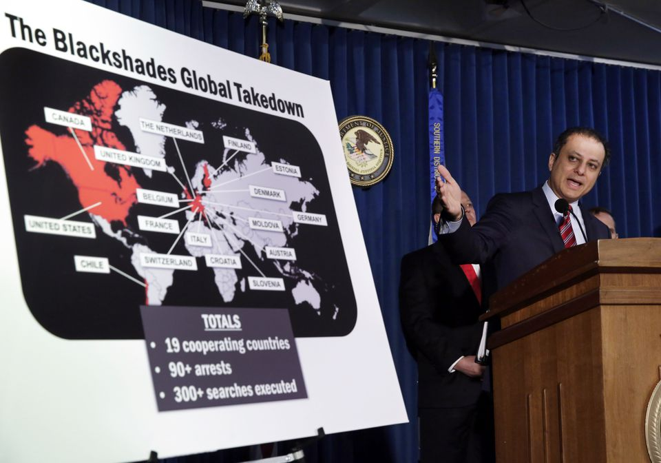 US Attorney Preet Bharara discussed the arrests in the Blackshades case. More than a half- million computers have been infected by the sophisticated malware, the authorities say.