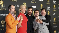 Nominees Brendan Hunt, from left, Hannah Waddingham, Brett Goldstein, Phil Dunster and Jeremy Swift on the red carpet at the 73rd Emmy Awards Performers Nominee Celebration on Friday, September 17, 2021.