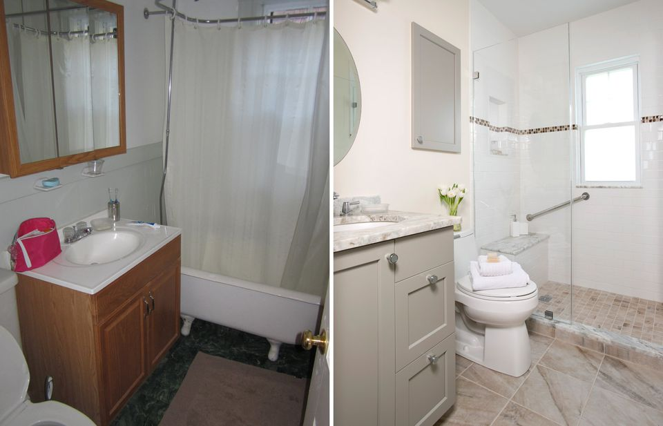 A before and after of the Millers' bathroom.