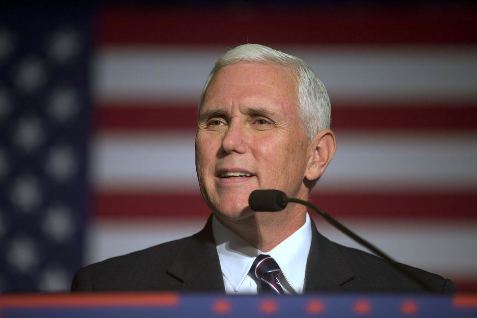Republican vice presidential candidate Governor Mike Pence spoke Monday in Milford, N.H.