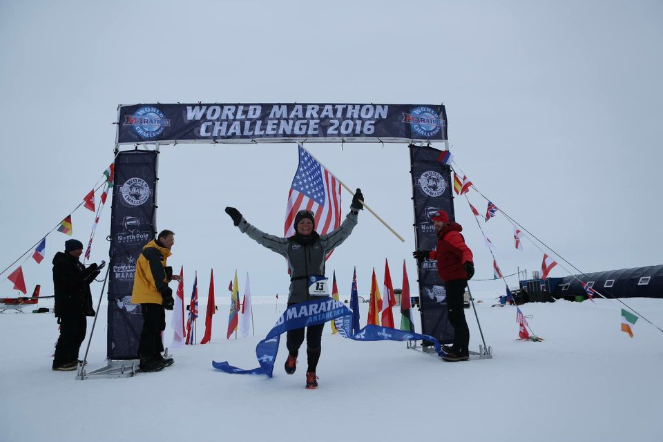 Becca Pizzi finished her first marathon of the competition in Antarctica.