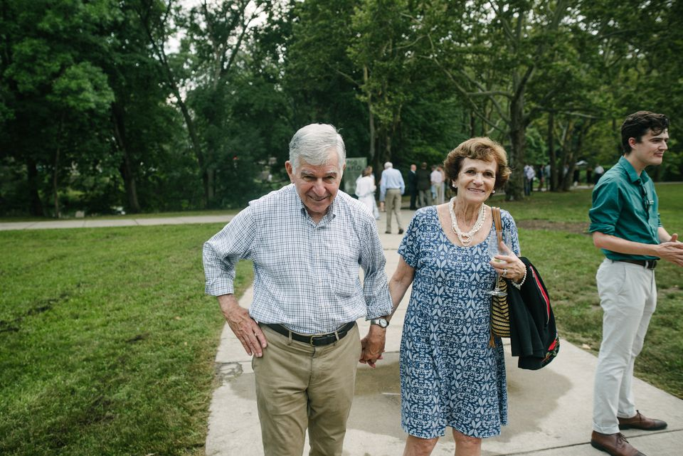 """Michael and Kitty Dukakis took in the public art exhibit """"Fog x FLO"""" along the Emerald Necklace."""