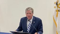 Rhode Island Governor Daniel J. McKee speaks at a news conference on Tuesday.