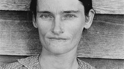 """The iconic portrait of Allie Mae Burroughs in Walker Evans's 1936 photograph """"Alabama Cotton Tenant Farmer Wife."""""""