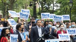 Andrew Yang, mayoral candidate for New York City, speaks during a campaign rally at City Hall Park in New York on May 24, 2021.