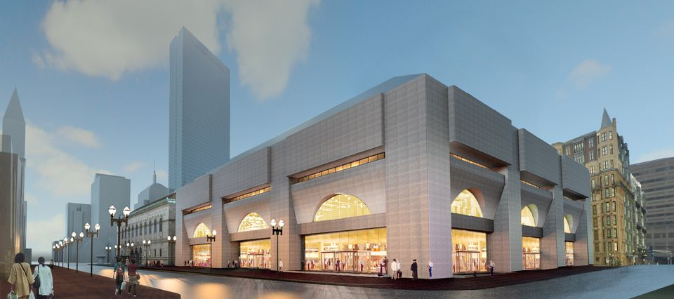 A rendering of the plan for the exterior of the Johnson Building shows glass panes exposing a more spacious lobby.