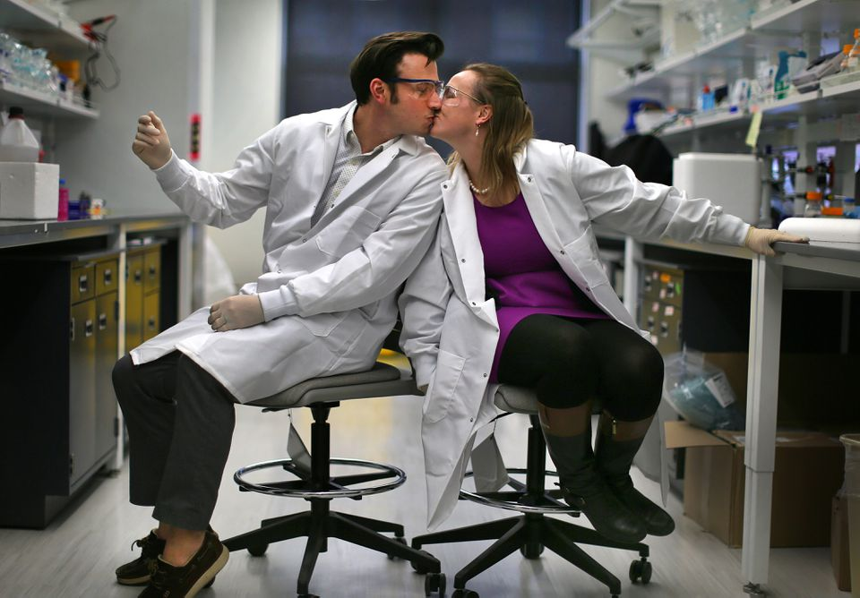 Northeastern chemical engineering professors Abigail and Ryan Koppes work in the same lab.