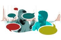 Illustration of two individuals talking, with multi-colored speech bubbles floating over them and a line graphic of hospitalizations behind them.