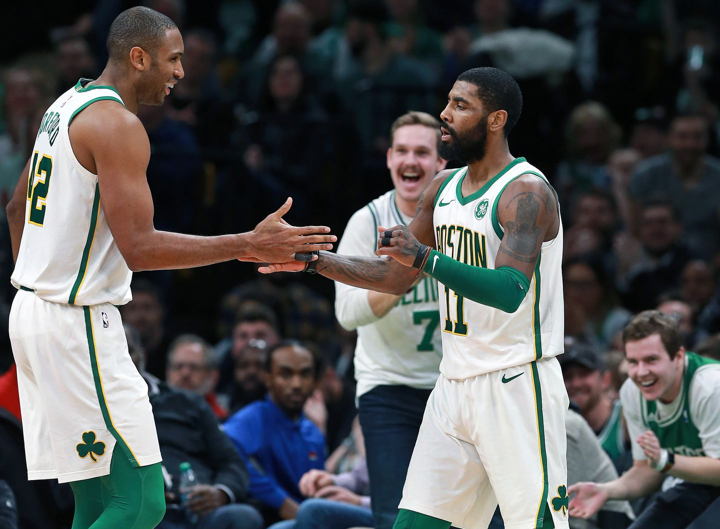 new arrival 910f1 0953d Celtics fans exulted at the sight of Kyrie Irving (11) celebrating with  teammate Al