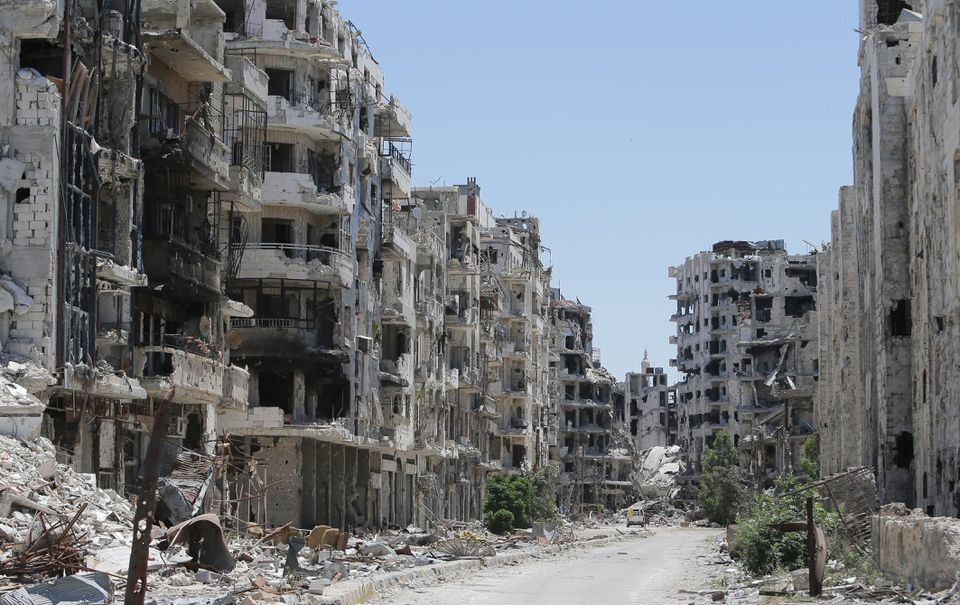 Destroyed buildings were seen in an area of Homs that was recaptured by Syrian government forces in 2013.