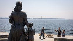 The Gloucester Fishermen's Wives Memorial overlooks the harbor in Gloucester.  (Nathan Klima for The Boston Globe) Topic:  Reporter: