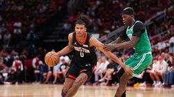 Celtics veteran reserve guard Dennis Schröder (right) intends to challenge leaders and All-Stars Jaylen Brown and Jayson Tatum to increase their intensity on defense.