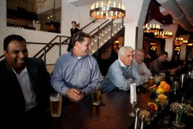 Boston, MA -- 08/21/13 -- left to right: Parth Patel, Matt Kaighn, John Bennett, and Martin Story enjoy a beer at the bar in the newly renovated Forum Bar and Restaurant on August 21, 2013 in Boston, Massachusetts. (Kayana Szymczak for the Boston Globe) 25dining