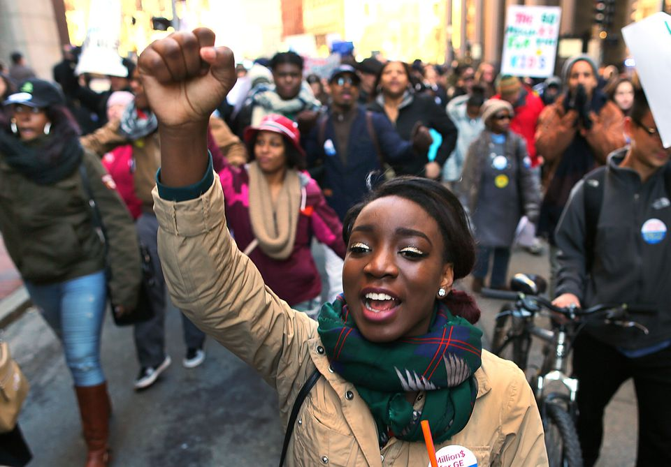 Jade Williams of Burke High School marched to City Hall.