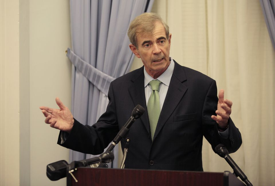 Secretary of State Bill Galvin holds a press conference at the State House on Sept. 10.
