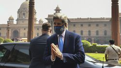 US climate envoy John Kerry gestured as he left the Ministry of Finance after a meeting with Indian Finance Minister Nirmala Sitharaman, in New Delhi this week.