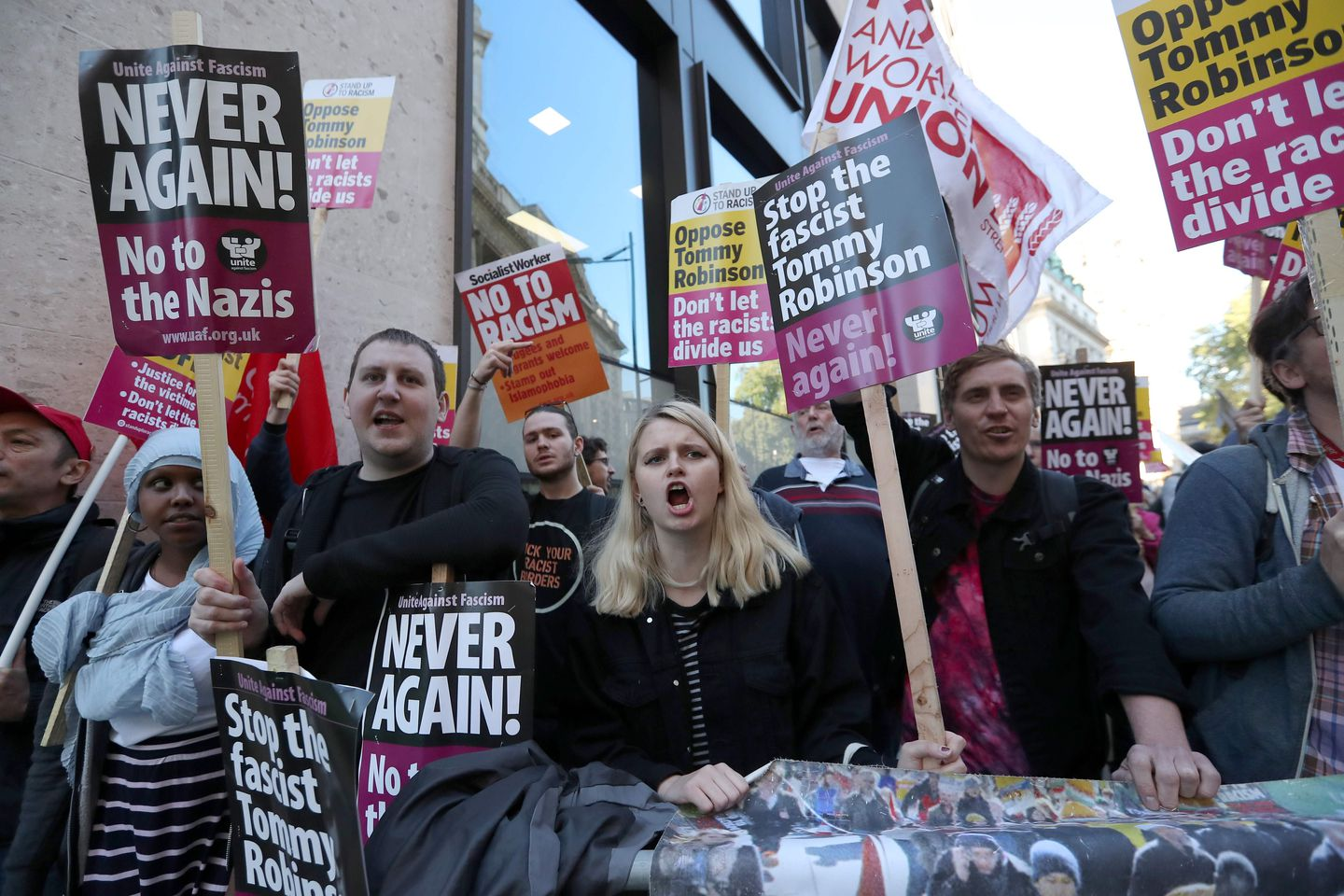 Demonstrators protested against Tommy Robinson outside court in September.