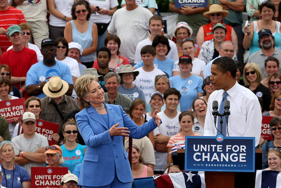 President Obama and Hillary Clinton's first joint campaign appearance came in 2008 in Unity, N.H., a town of 1,700.