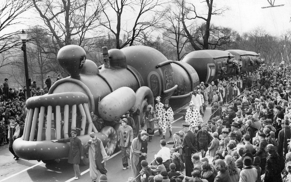 The train balloon was led along Beacon Street on the route of the annual Santason parade in Boston on Thanksgiving Day, Nov. 20, 1941.