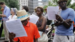 """Frederick Douglass's """"What to the Slave Is the Fourth of July?"""" will be read in 20 cities statewide. The annual readings are sponsored by Mass Humanities.. Pictured: A reading on Boston Common in July 2013."""