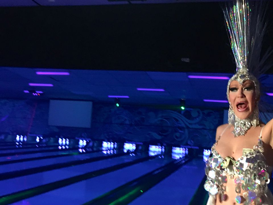 Drag queen Beverly Wilde performing at Dunedin Lanes on gay bowling night.