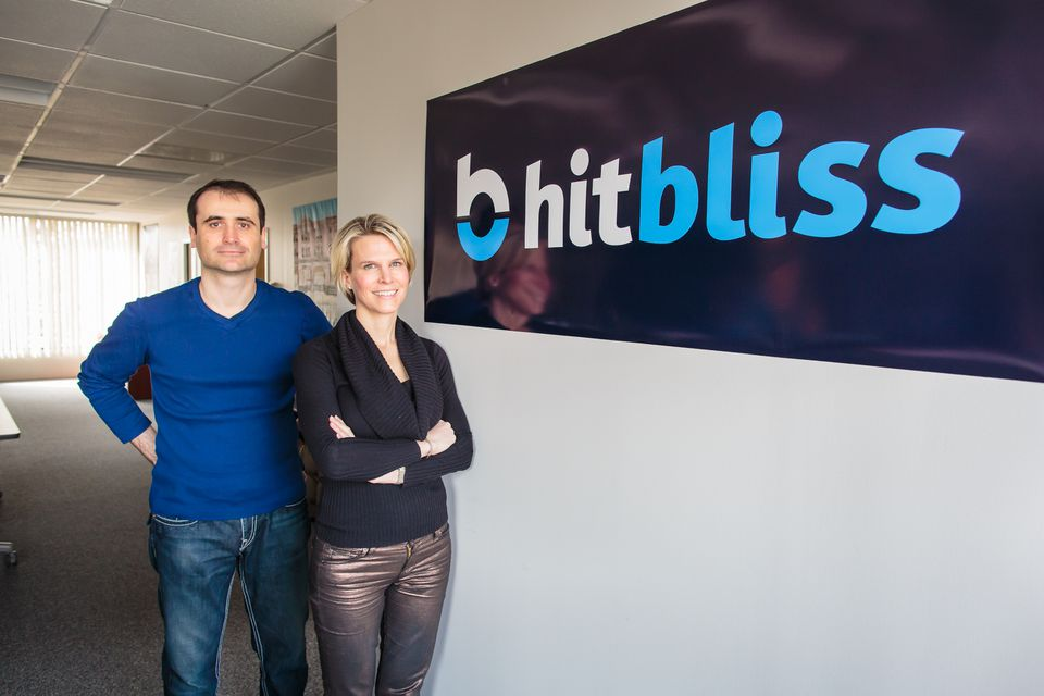 HitBliss cofounders Sharon Peyer and husband Andrew Prihodko. The start-up's content parallels that offered by iTunes and Amazon.