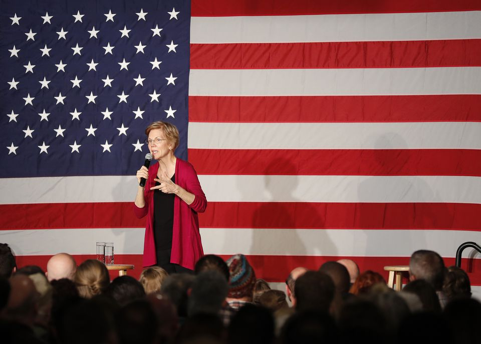 Senator Elizabeth Warren, Democrat of Massachusetts, spoke to supporters Saturday in Des Moines, Iowa.